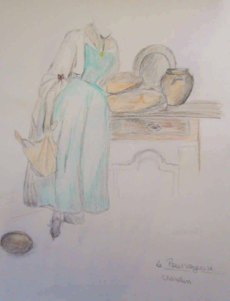 La Pourvoyeuse, de Chardin, aux crayons de couleur aquerables, croquis
