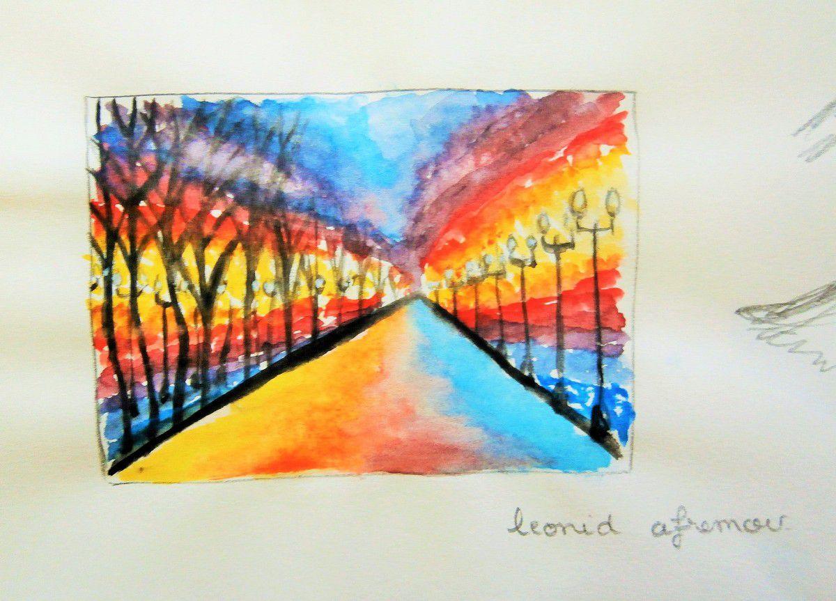 Croquis d'un tableau, et selon le style, de Leonid Afremov, à l'aquarelle