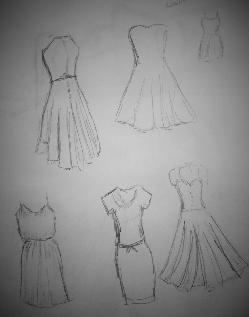 esquisses de robe au crayon HB