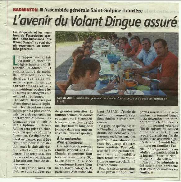 article du Populaire du Centre du 08.07.2015