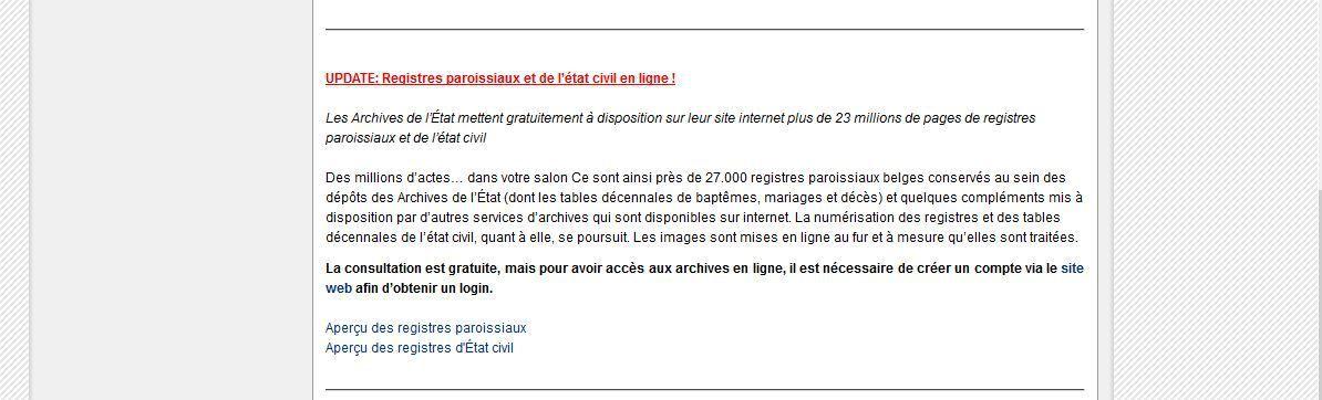 Page d'accueil des Archives de l'Etat en Belgique
