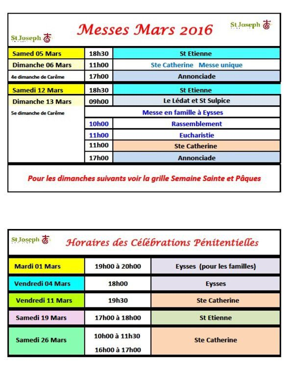 Horaires Mars 2016