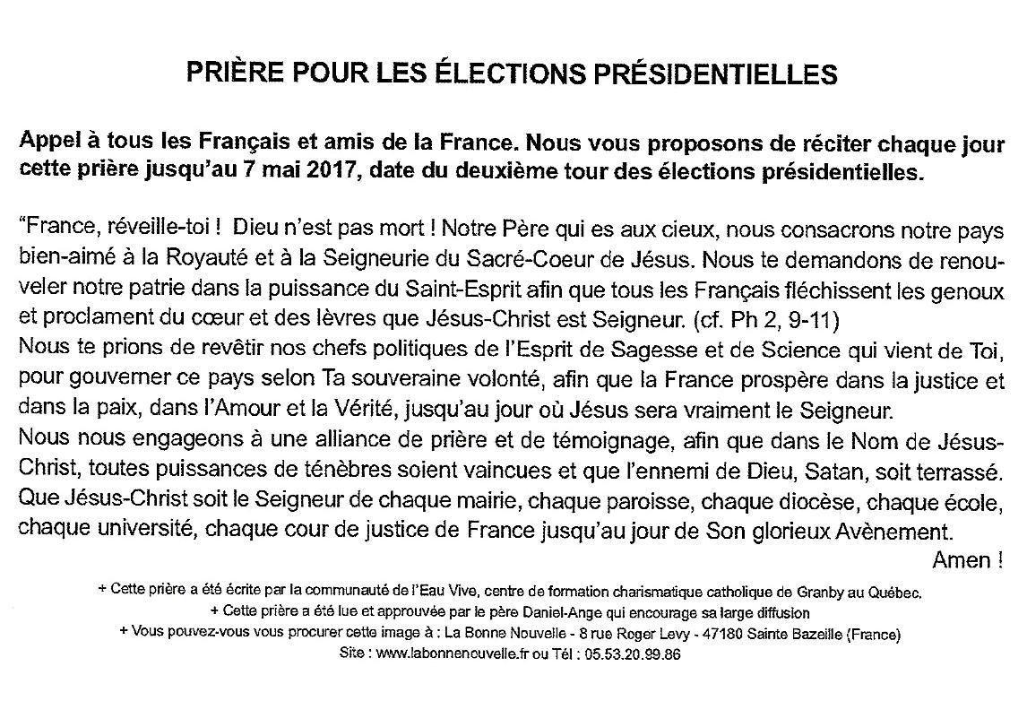 Prière pour élection présidentielle