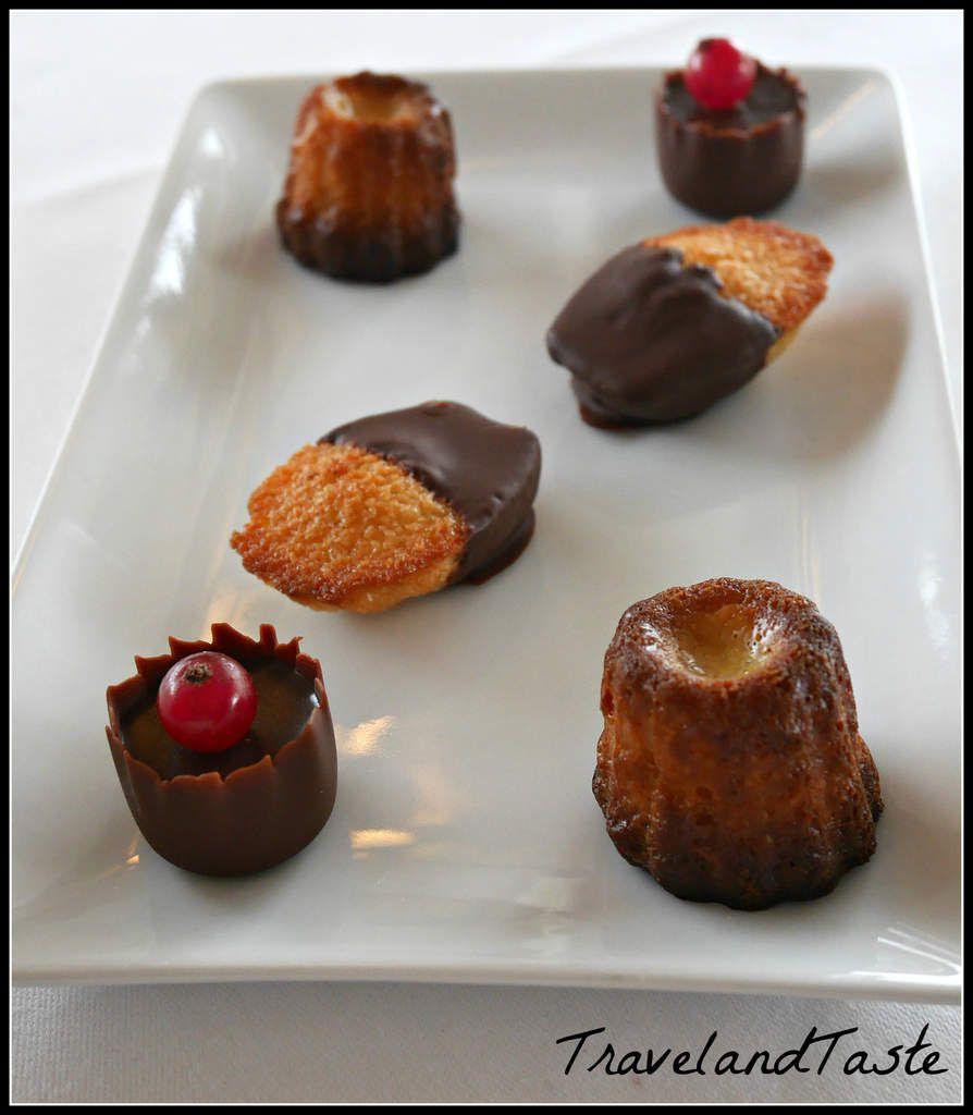 Mignardises : Cannelé, madeleines en croute de chocolat, chocolat en ganache et sa groseille