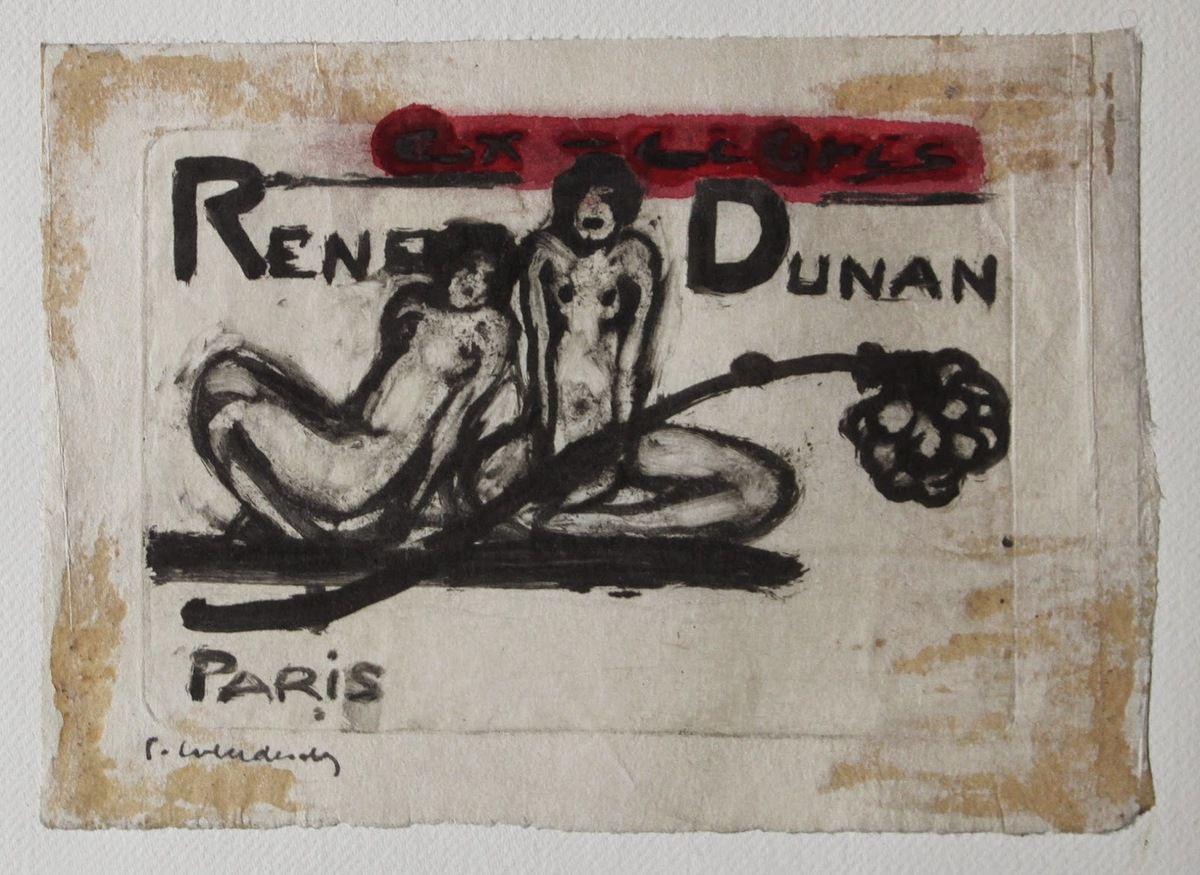 Ex-Libris de Renée Dunan (gravure au sucre, sans date)