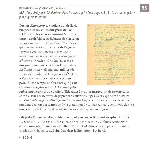 """Paul Vorgs """"Paul Valéry ou le fainéant vanté par les sots"""" (Manuscrit - s.d.)"""
