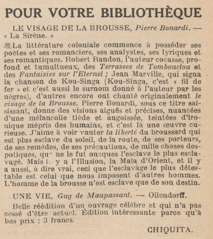 """Chiquita """"Pour votre bibliothèque"""" (1920)"""