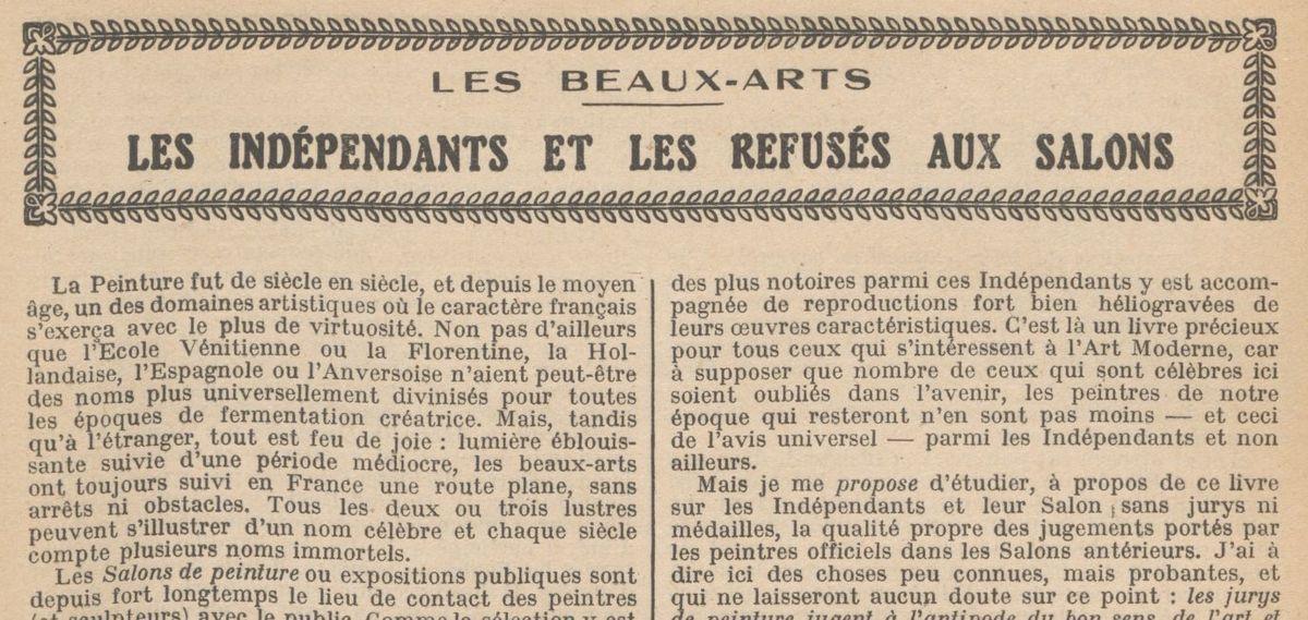 """Renée Dunan """"Les Indépendants et les refusés aux salons"""" (1920)"""