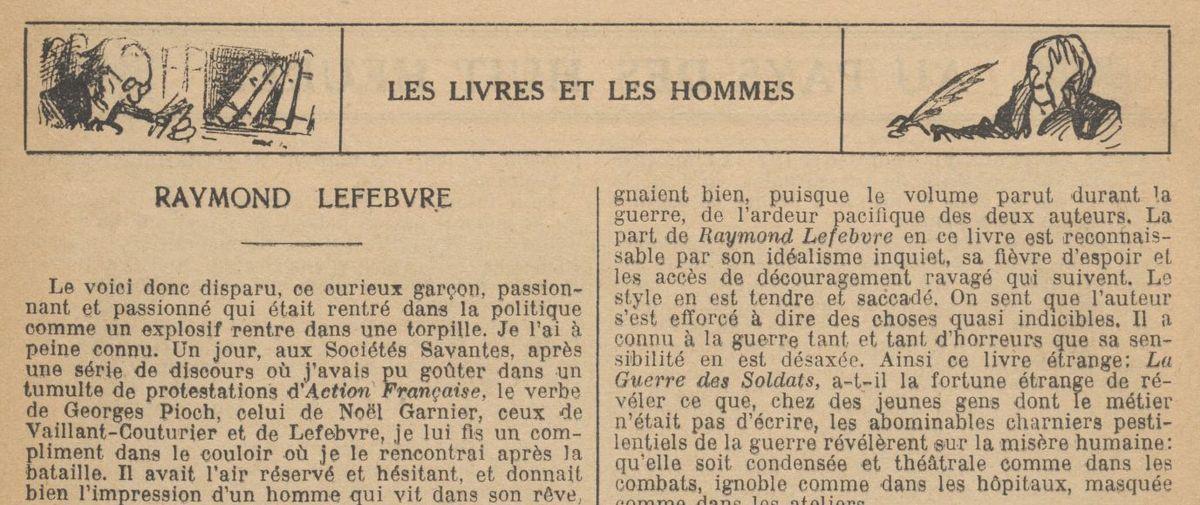 "Renée Dunan ""Raymond Lefebvre"" (1921)"