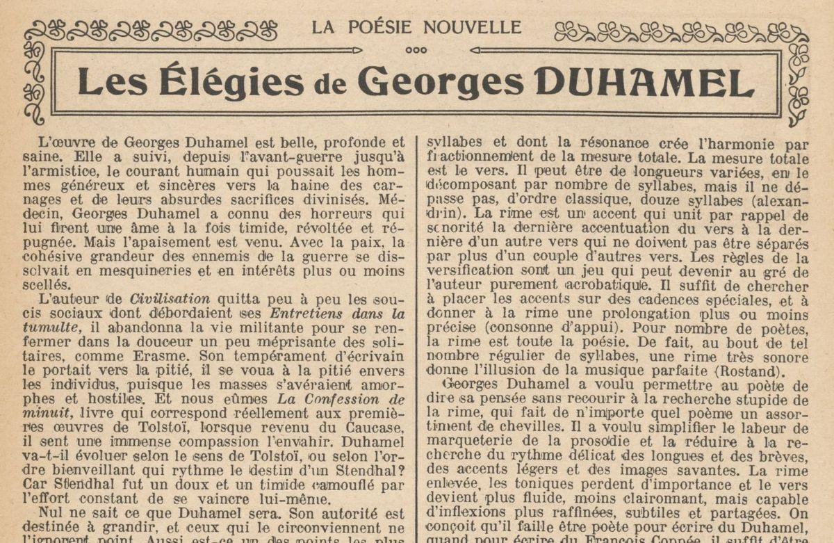 """Renée Dunan """"Les Elégies de Georges Duhamel"""" (1921)"""