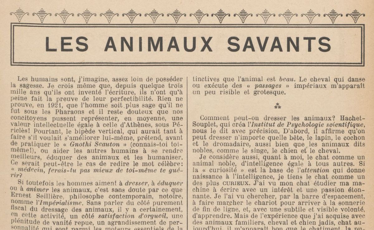 "Léa Saint-Didier ""Les Animaux savants"" (1921)"
