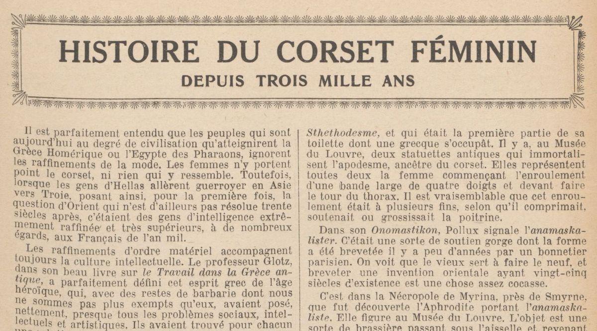 """Renée Dunan """"Histoire du corset féminin depuis trois mille ans"""" (1921)"""