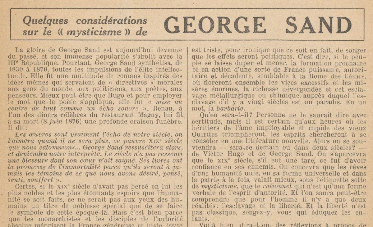 """Renée Dunan """"Quelques considérations sur le « mysticisme » de George Sand"""" (1921)"""
