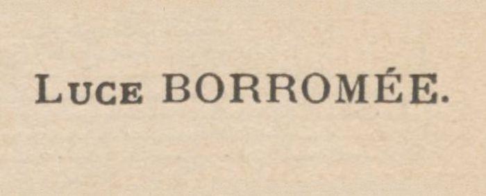 Bibliographie : Luce Borromée