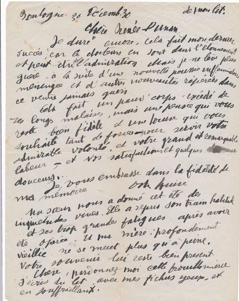 Louise Hervieu à Renée Dunan : L.A.S. du 30 décembre 1930