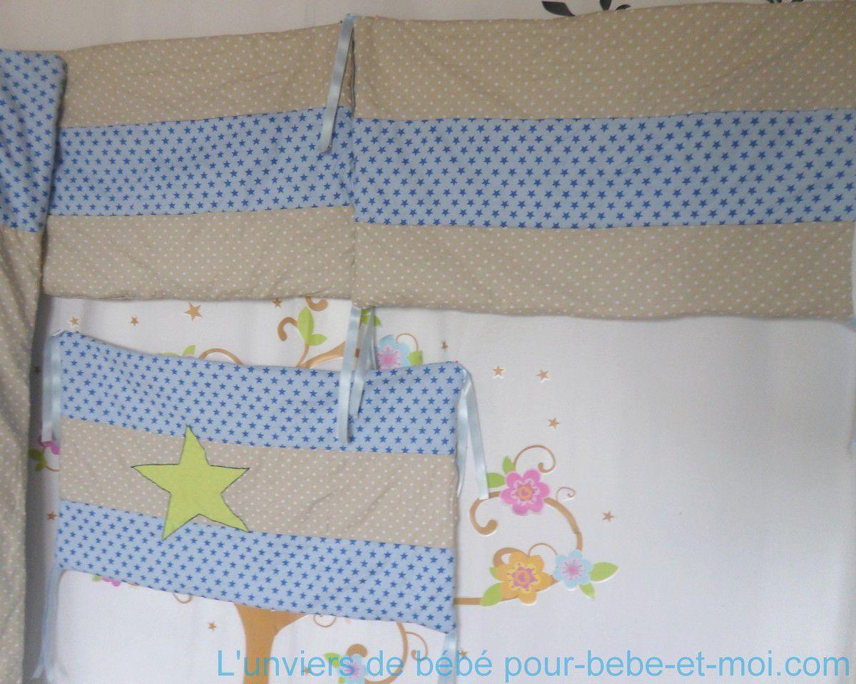 ensemble tour de lit et couverture bébé garçon gris taupe et bleu