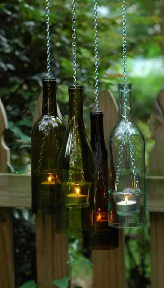 Pour mon jardin, je garde les bouteilles en verre pour en faire des lampions