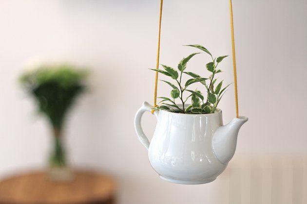 Suspension florale à l'aide d'une théière