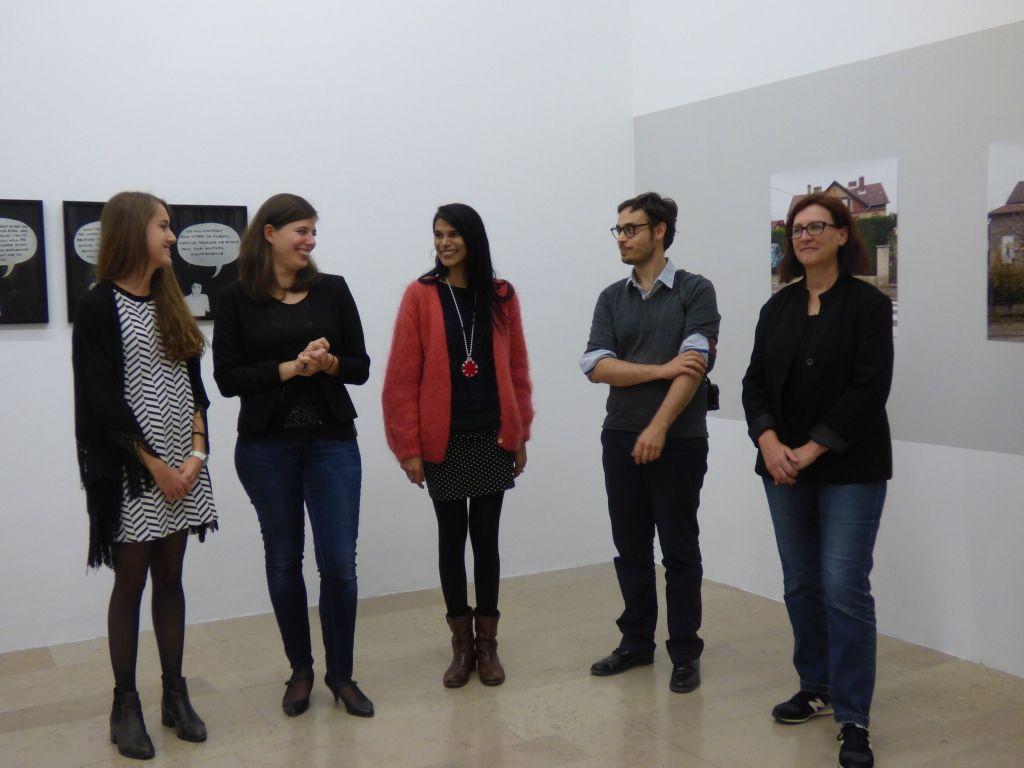 Mélanie Lefebvre, Giulia Turati, Astrid Méry-Sinivassin, Xavier Jullien, Brigitte Bauer lors du vernissage