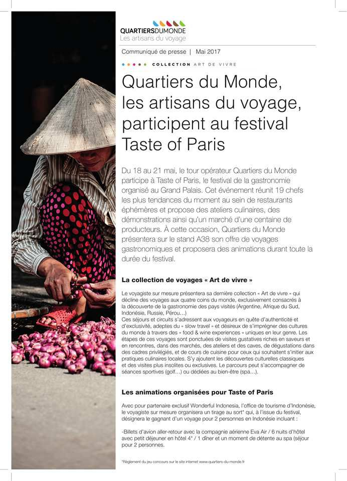 Quartiers du Monde au Taste Of Paris du 18 au 21 MAI 2017