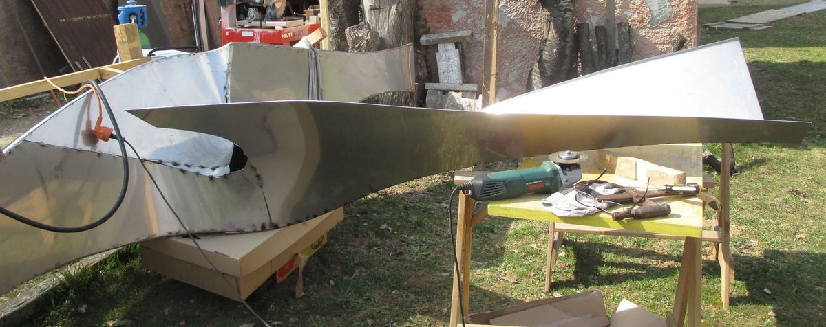bateau inox sculpture monumentale