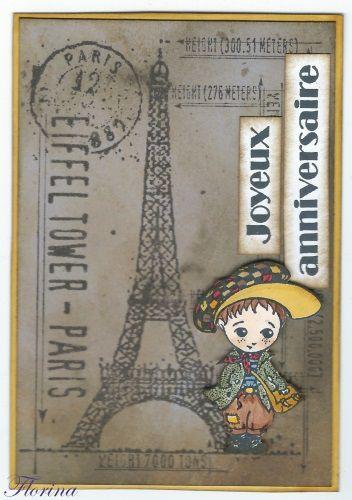 une petite carte d'anniversaire fan de Paris