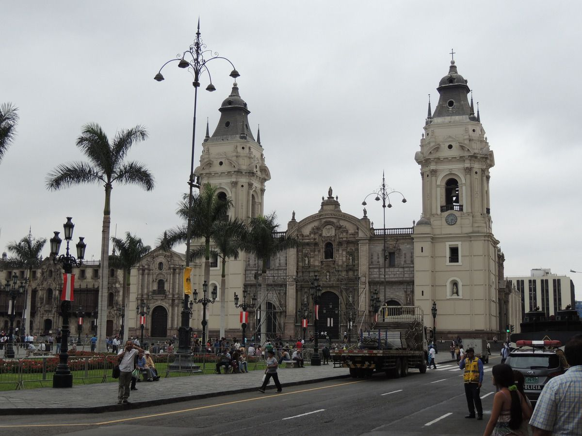 The Cathedral basilica of Lima, built in 1535, on the Plaza de Armas, the birthplace of the city.