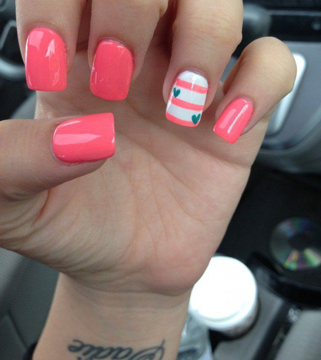 Gorgeous Coral Nails With Hearts