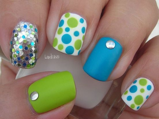 Beautiful Green and Blue Nails With Studs and Glitters