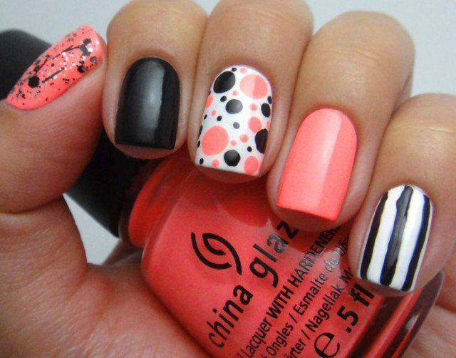 Cute Nails With Dots and Stripes