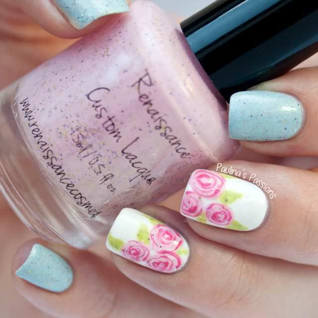 Pastel Nail Art With Flowers