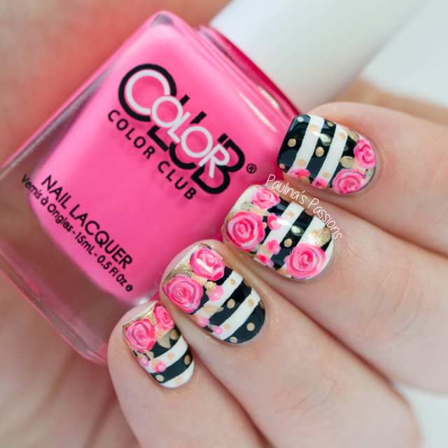 Gorgeous Nail Design with Stripes and Flowers