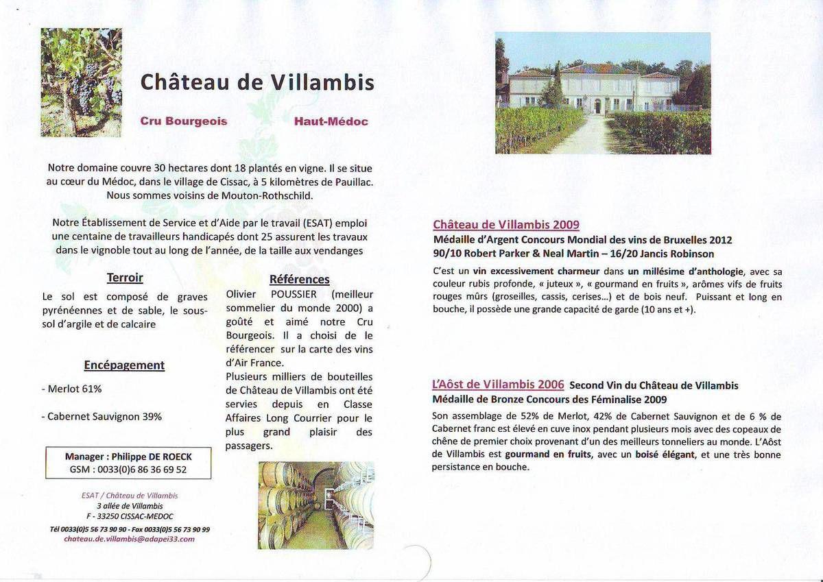 Dégustation Aôst de Villambis 2006 et Château de Villambis 2009