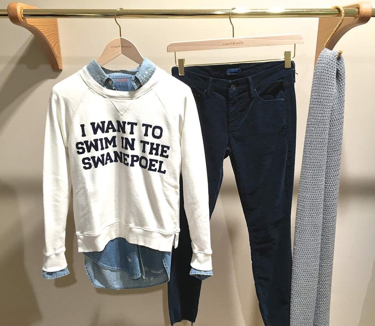 Chemise en jean , sweat et pantalon velours MOTHER - Écharpe TRAITS