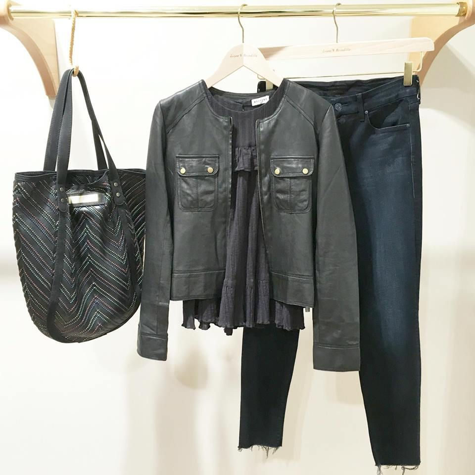 Sac CLIO GOLDBRENNER - Veste en cuir RABENS SALONER - Blouse MASSCOB - Jean MOTHER DENIM