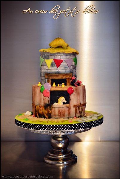 Gâteau de baptême champêtre/ ferme