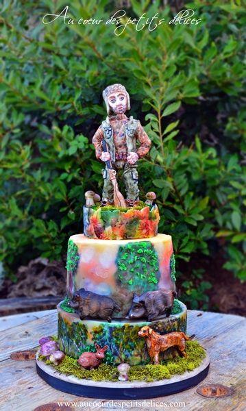 Gâteau d'anniversaire Chasse et Cèpes
