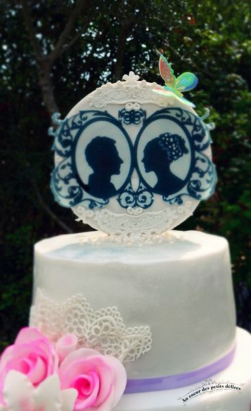 Wedding cake Blanc et parme
