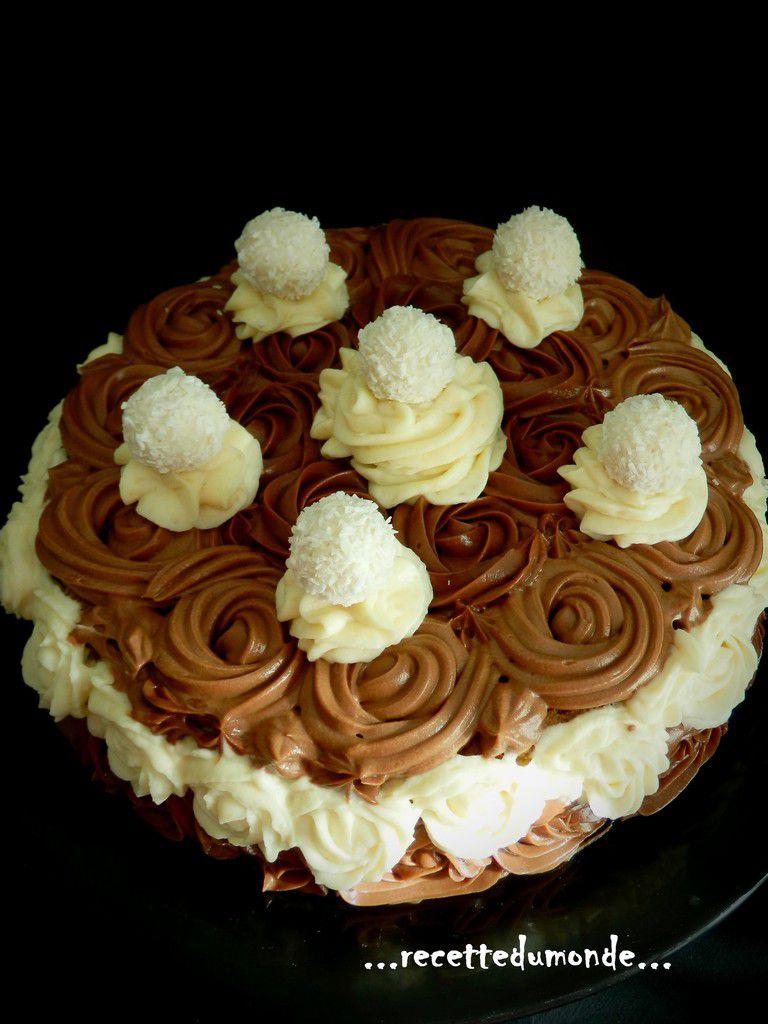 Gâteau en forme de roses - Mousse coco mousse Nutella et Raffaelo