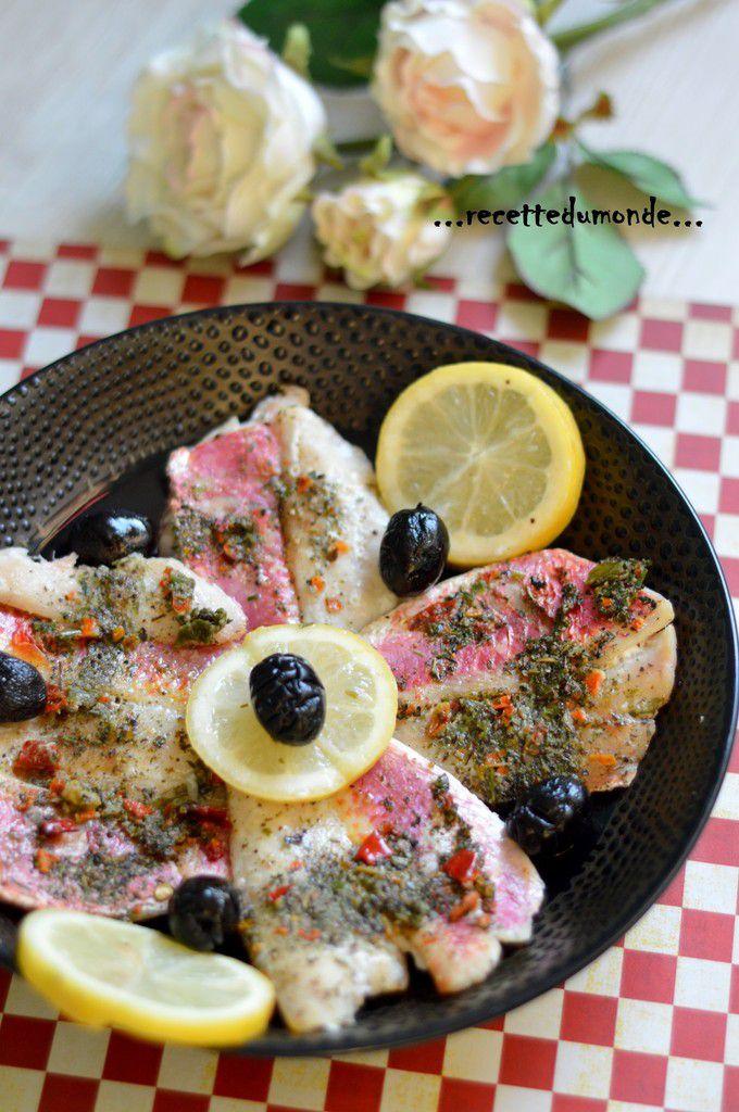 Filet de rouget mariné grillé
