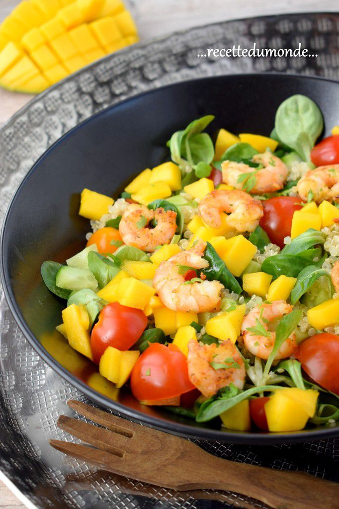 Idée salade - Mâche - Mangue - Quinoa - Crevettes ...