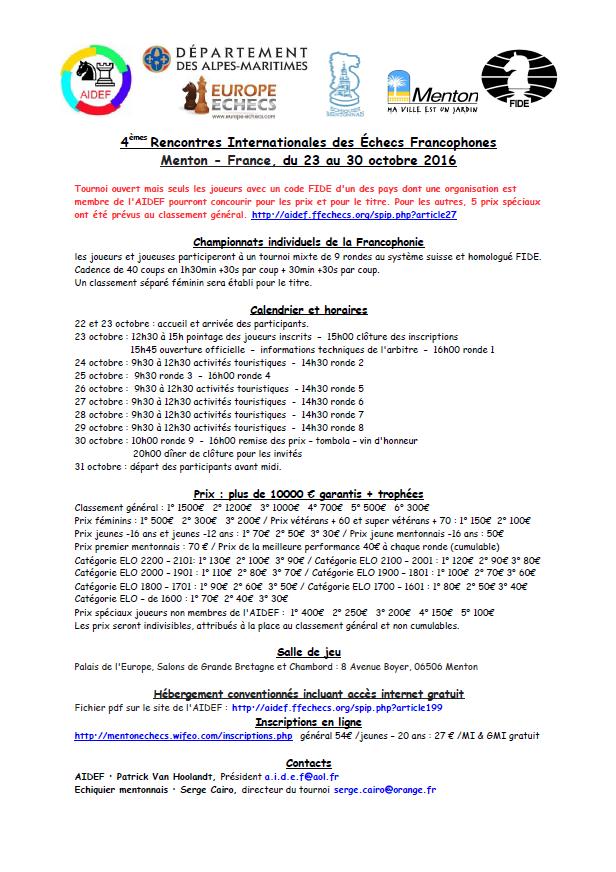 4èmes Rencontres Internationales des Echecs Francophones à Menton