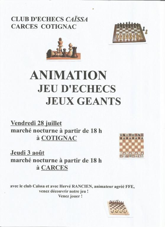 ANIMATIONS à COTIGNAC et à CARCES