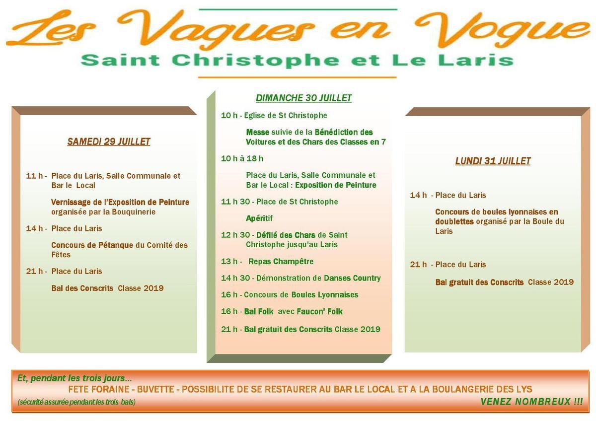 Les vagues en vogue  Fête de Saint Christophe et Le Laris  29, 30 et 31 JUILLET 2017