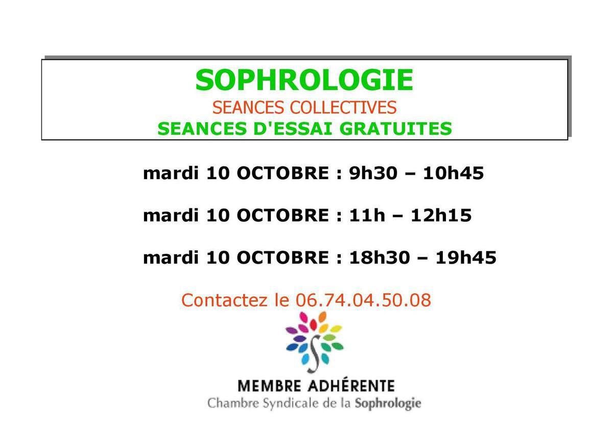 SOPHROLOGIE avec Karine Lecomte  à l'Espace Pléiade au Grand Serre   séances d'essai gratuites le mardi 10 octobre