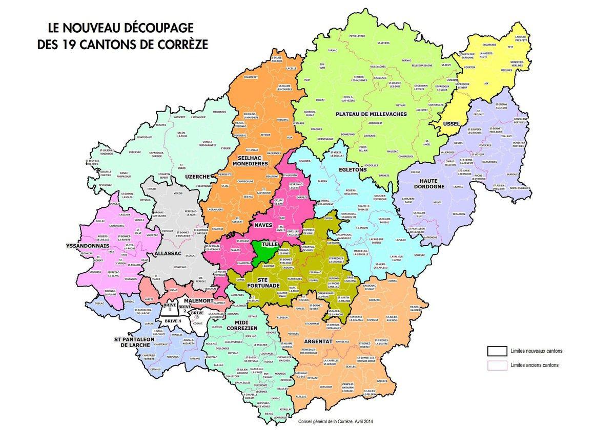 carte des nouveaux cantons de Corrèze