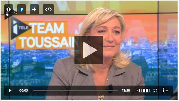 MARINE LE PEN SUR ITELE INVITEE DE BRUCE TOUSSAINT
