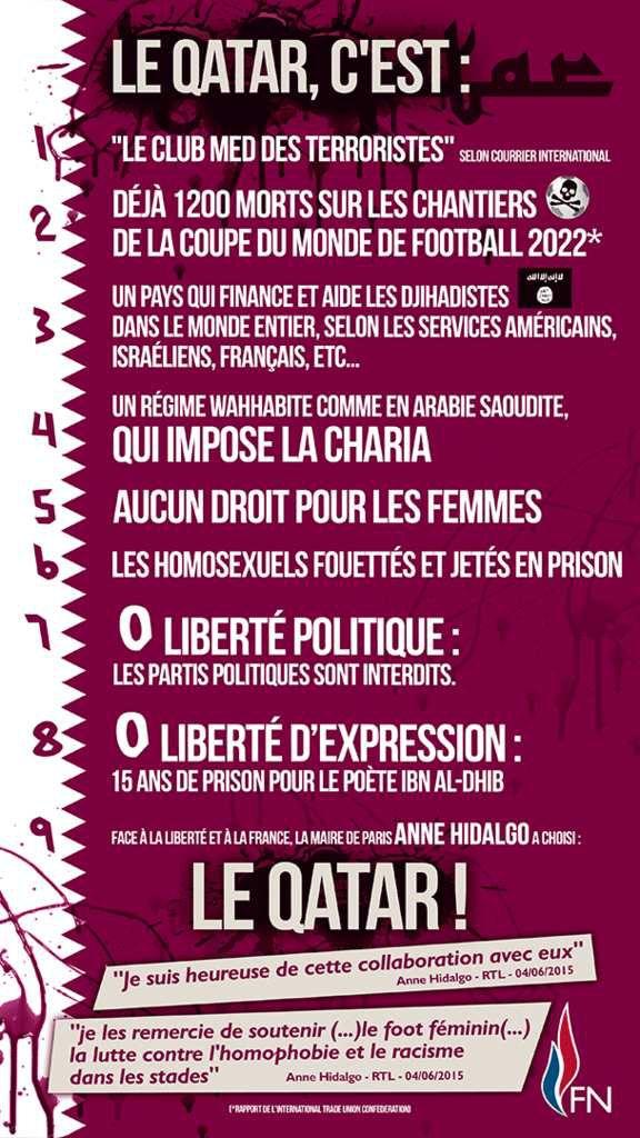 CONTRE LE QATAR, LA FRANCE SOUVERAINE ET LIBRE!