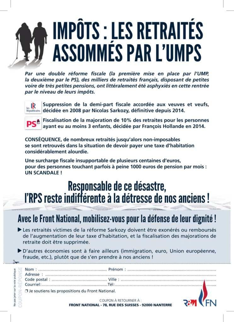 IMPÔTS : LES RETRAITÉS ASSOMMÉS PAR L'UMPS