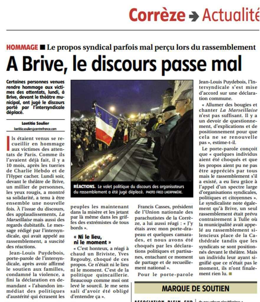 Article La Montagne- &quot&#x3B;A Brive, le discours passe mal&quot&#x3B;